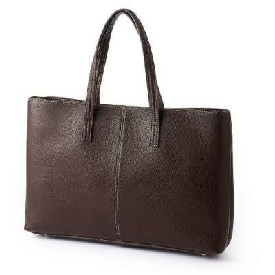 【バッグ】鞄・縦型トートバッグ・牛革・ブラウン