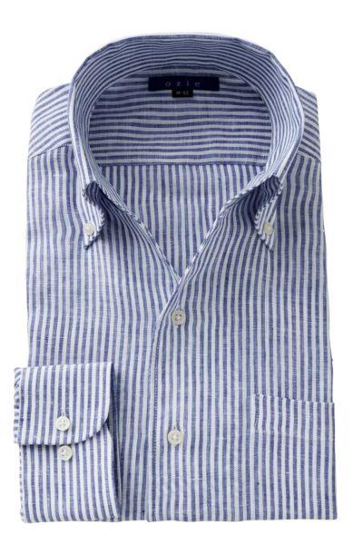 リネンシャツ・麻シャツ 8044A-A04D-BLUE
