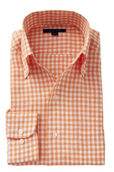 リネンシャツ・麻シャツ 8044A-A04F-ORANGE