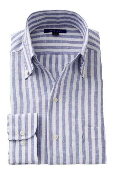 リネンシャツ・麻シャツ 8044A-A04G-BLUE