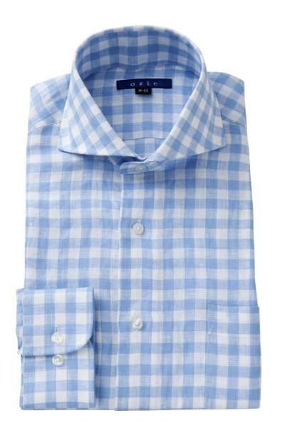 リネンシャツ・麻シャツ 8070A-A04B-SAX