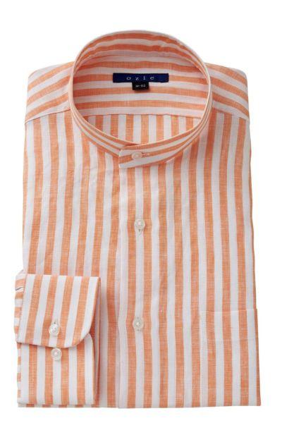 リネンシャツ・麻シャツ 8063A-A04A-ORANGE