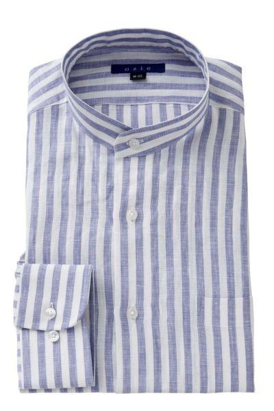 リネンシャツ・麻シャツ 8063A-A04C-BLUE