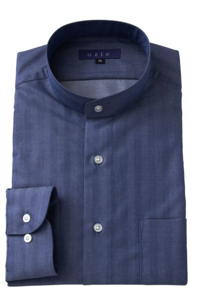 スタンドカラーシャツ マオカラー 8063-A05D-BLUE